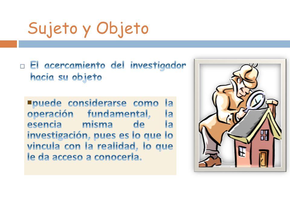Sujeto y Objeto El acercamiento del investigador hacia su objeto.