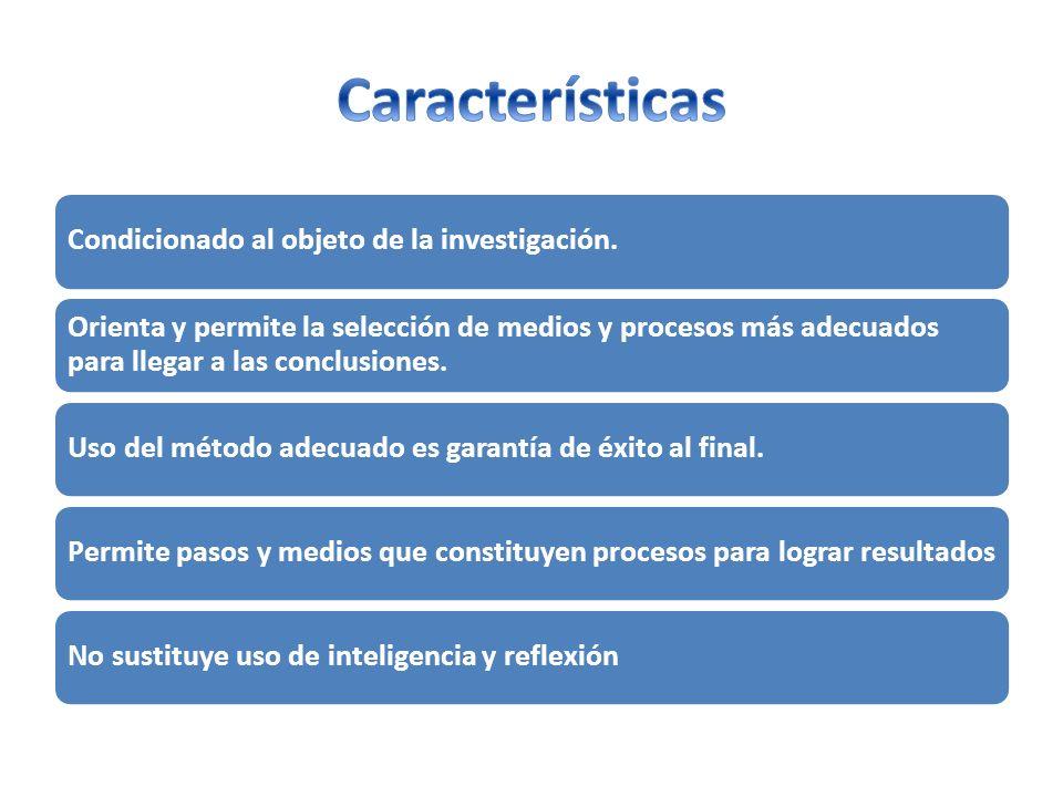 Características Condicionado al objeto de la investigación.