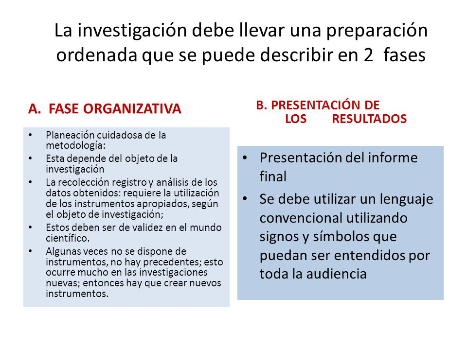 La investigación debe llevar una preparación ordenada que se puede describir en 2 fases