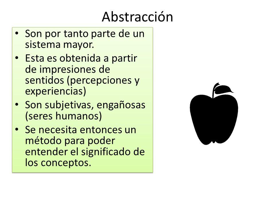 Abstracción Son por tanto parte de un sistema mayor.