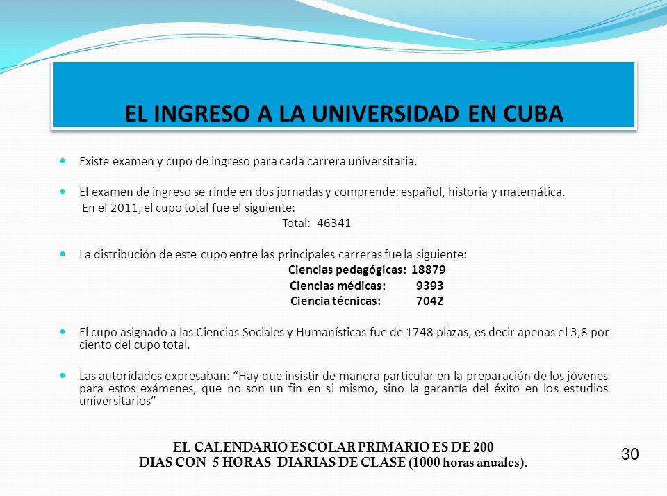 EL INGRESO A LA UNIVERSIDAD EN CUBA