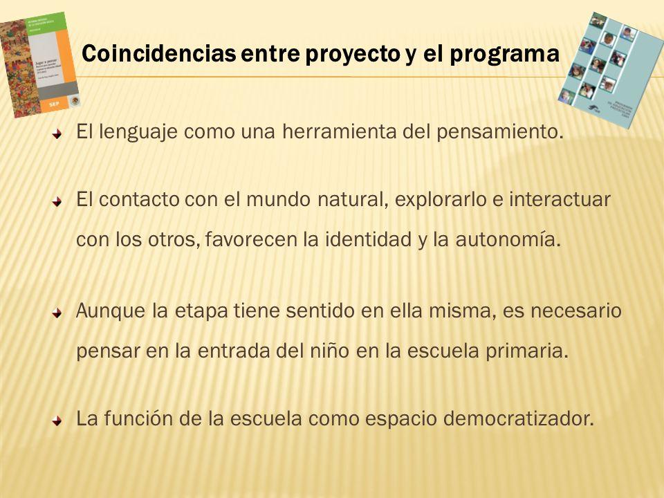 Coincidencias entre proyecto y el programa