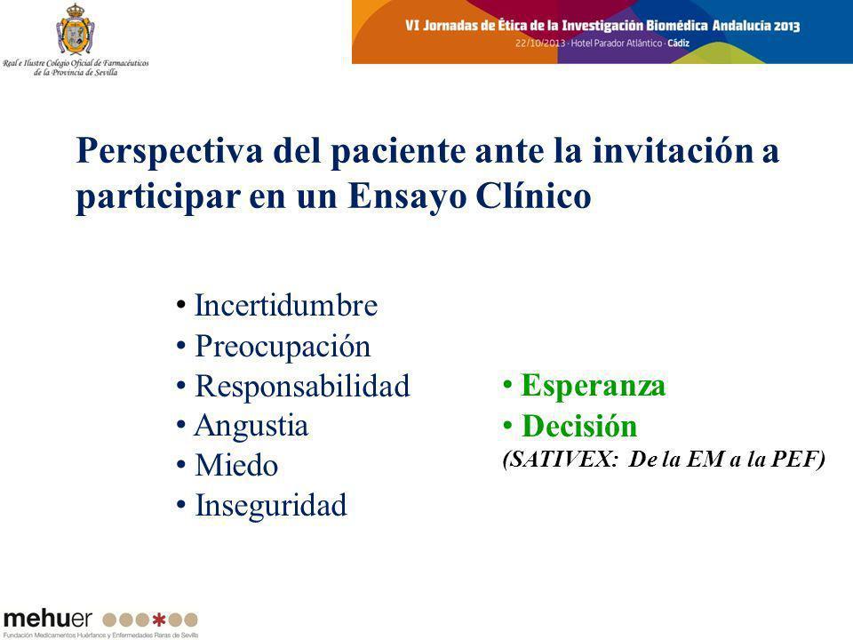 Perspectiva del paciente ante la invitación a participar en un Ensayo Clínico