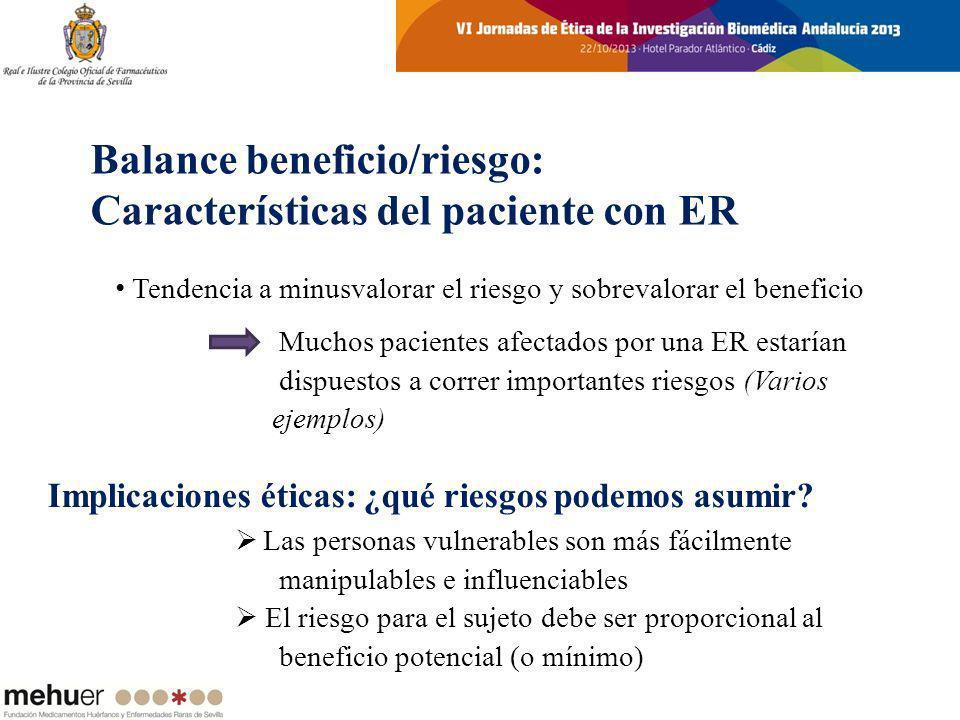 Balance beneficio/riesgo: Características del paciente con ER