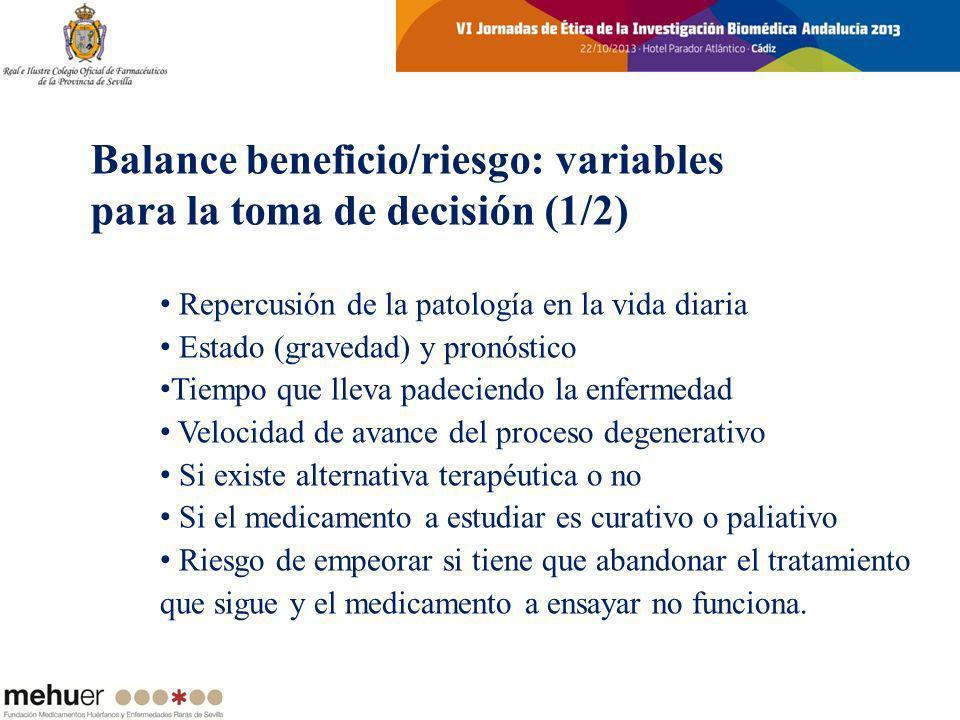 Balance beneficio/riesgo: variables para la toma de decisión (1/2)