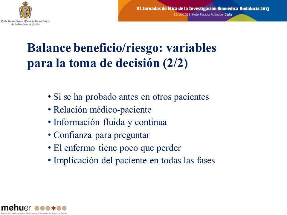 Balance beneficio/riesgo: variables para la toma de decisión (2/2)