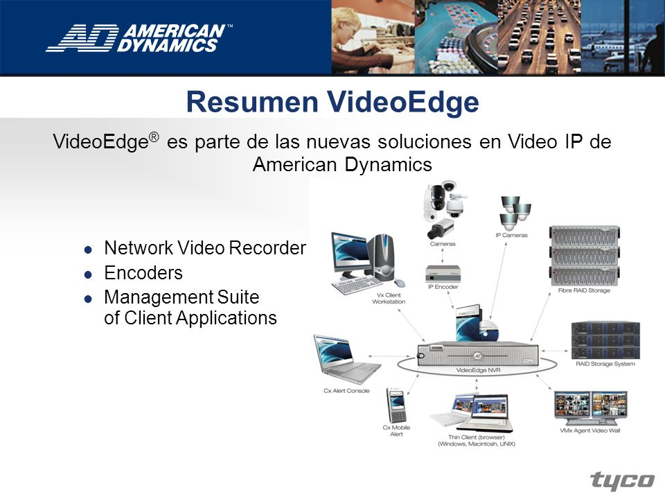 Resumen VideoEdge VideoEdge® es parte de las nuevas soluciones en Video IP de American Dynamics. Network Video Recorder.