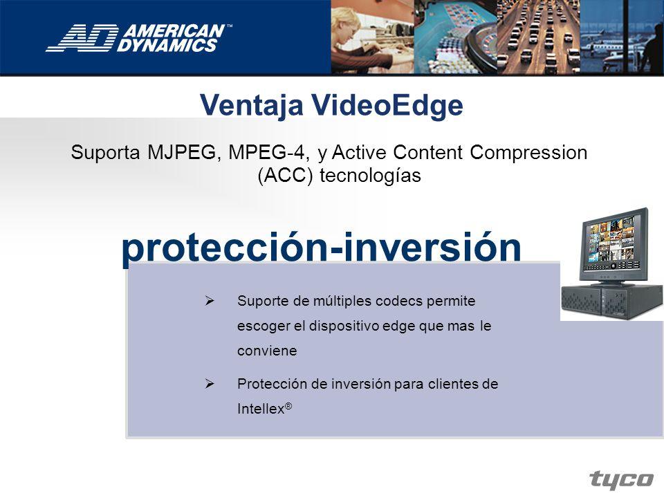 Suporta MJPEG, MPEG-4, y Active Content Compression (ACC) tecnologías