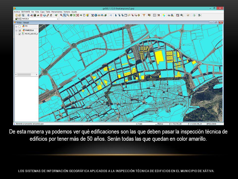 De esta manera ya podemos ver qué edificaciones son las que deben pasar la inspección técnica de edificios por tener más de 50 años. Serán todas las que quedan en color amarillo.