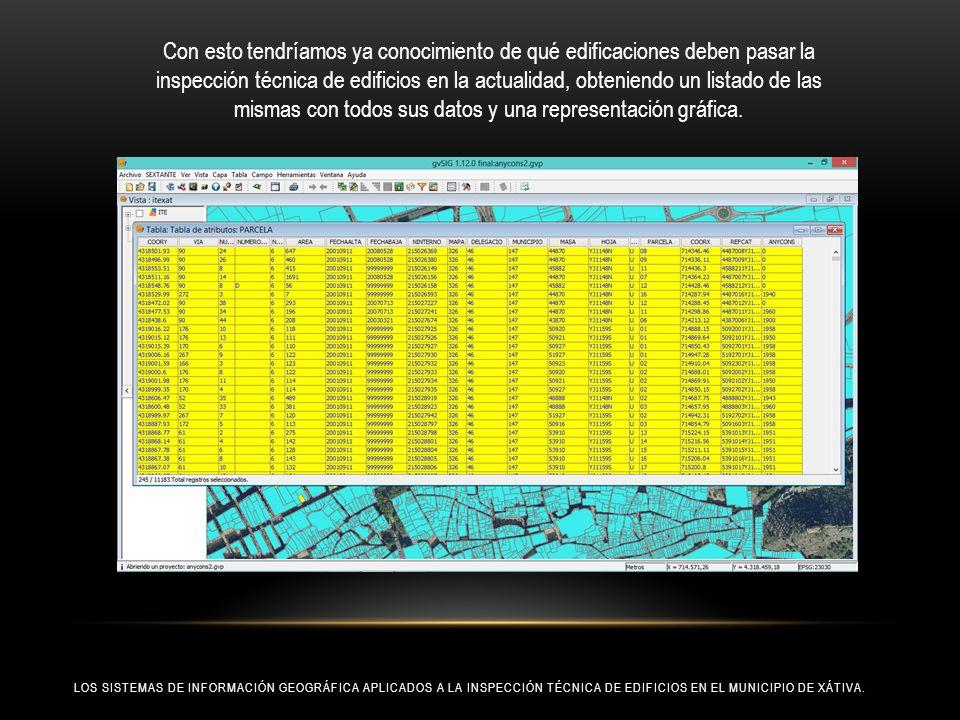 Con esto tendríamos ya conocimiento de qué edificaciones deben pasar la inspección técnica de edificios en la actualidad, obteniendo un listado de las mismas con todos sus datos y una representación gráfica.