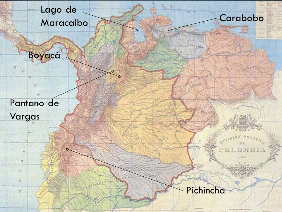 Lago de Maracaibo Carabobo Boyacá Pantano de Vargas Pichincha