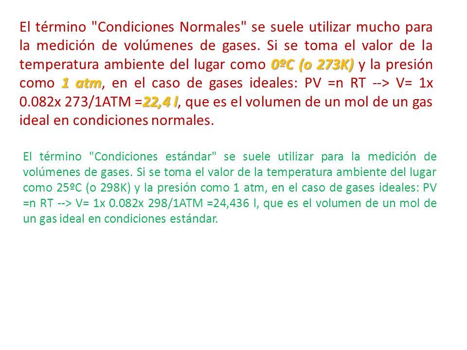 El término Condiciones Normales se suele utilizar mucho para la medición de volúmenes de gases. Si se toma el valor de la temperatura ambiente del lugar como 0ºC (o 273K) y la presión como 1 atm, en el caso de gases ideales: PV =n RT --> V= 1x 0.082x 273/1ATM =22,4 l, que es el volumen de un mol de un gas ideal en condiciones normales.