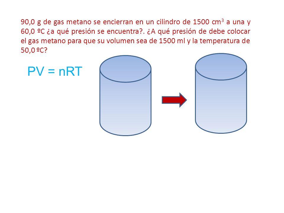 90,0 g de gas metano se encierran en un cilindro de 1500 cm3 a una y 60,0 ºC ¿a qué presión se encuentra . ¿A qué presión de debe colocar el gas metano para que su volumen sea de 1500 ml y la temperatura de 50,0 ºC