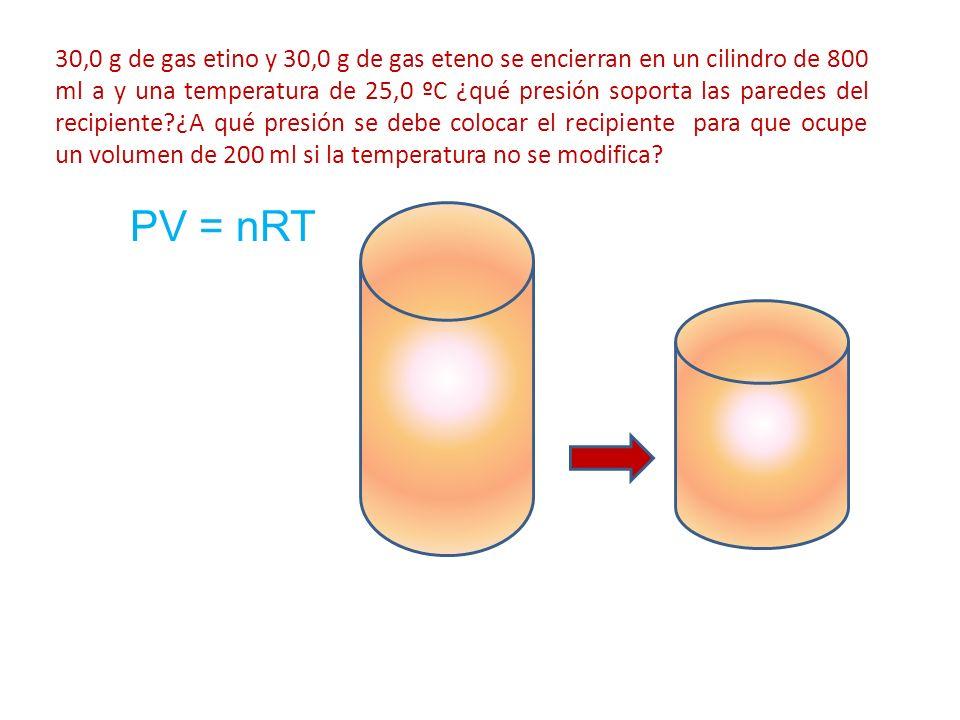 30,0 g de gas etino y 30,0 g de gas eteno se encierran en un cilindro de 800 ml a y una temperatura de 25,0 ºC ¿qué presión soporta las paredes del recipiente ¿A qué presión se debe colocar el recipiente para que ocupe un volumen de 200 ml si la temperatura no se modifica