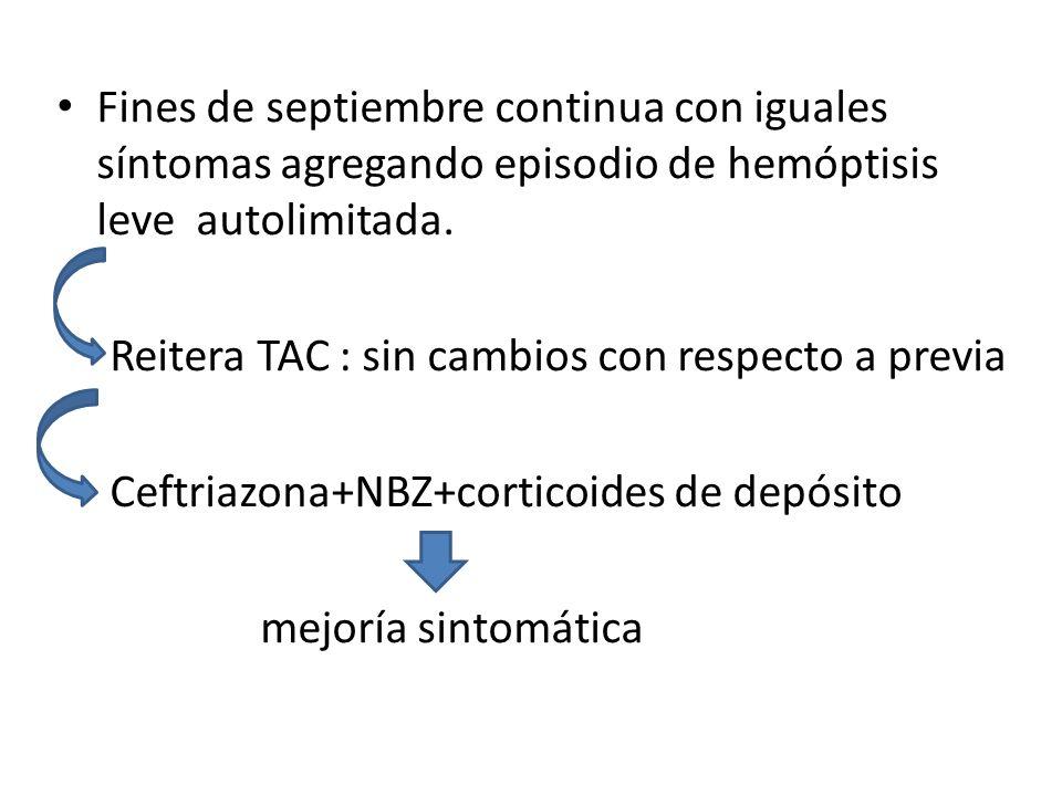 Fines de septiembre continua con iguales síntomas agregando episodio de hemóptisis leve autolimitada.