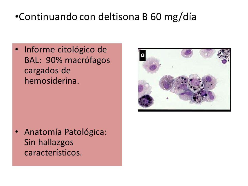 Continuando con deltisona B 60 mg/día