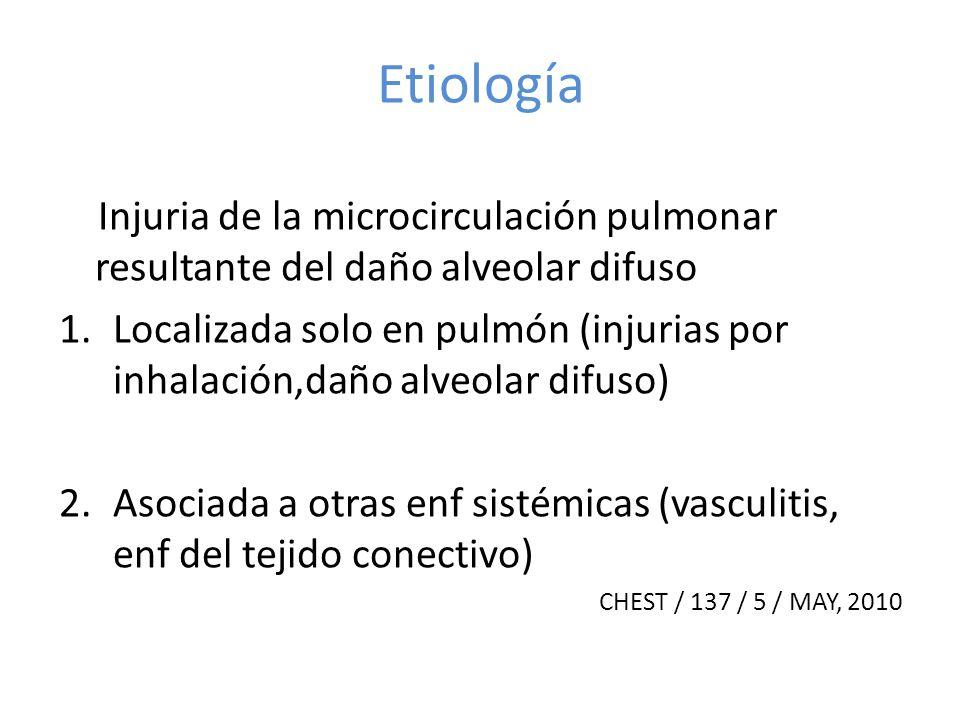 Etiología Injuria de la microcirculación pulmonar resultante del daño alveolar difuso.