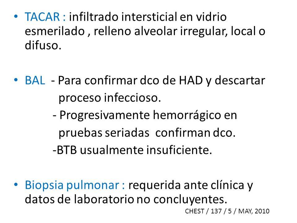 BAL - Para confirmar dco de HAD y descartar proceso infeccioso.