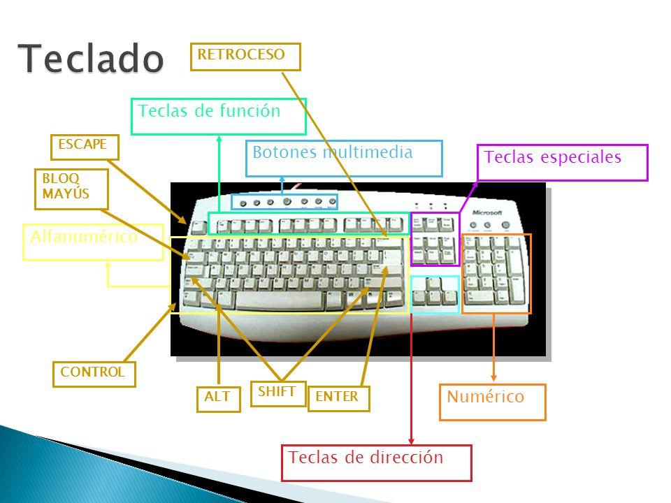 Teclado Teclas de función Botones multimedia Teclas especiales