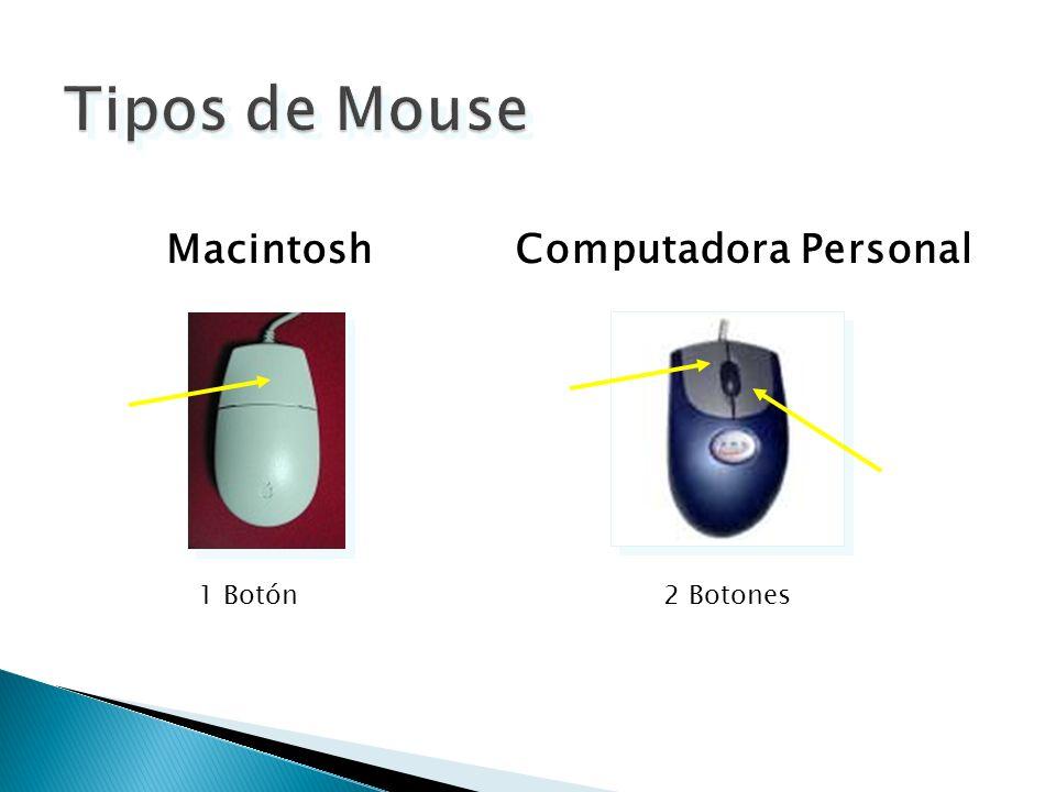 Tipos de Mouse Macintosh Computadora Personal 1 Botón 2 Botones