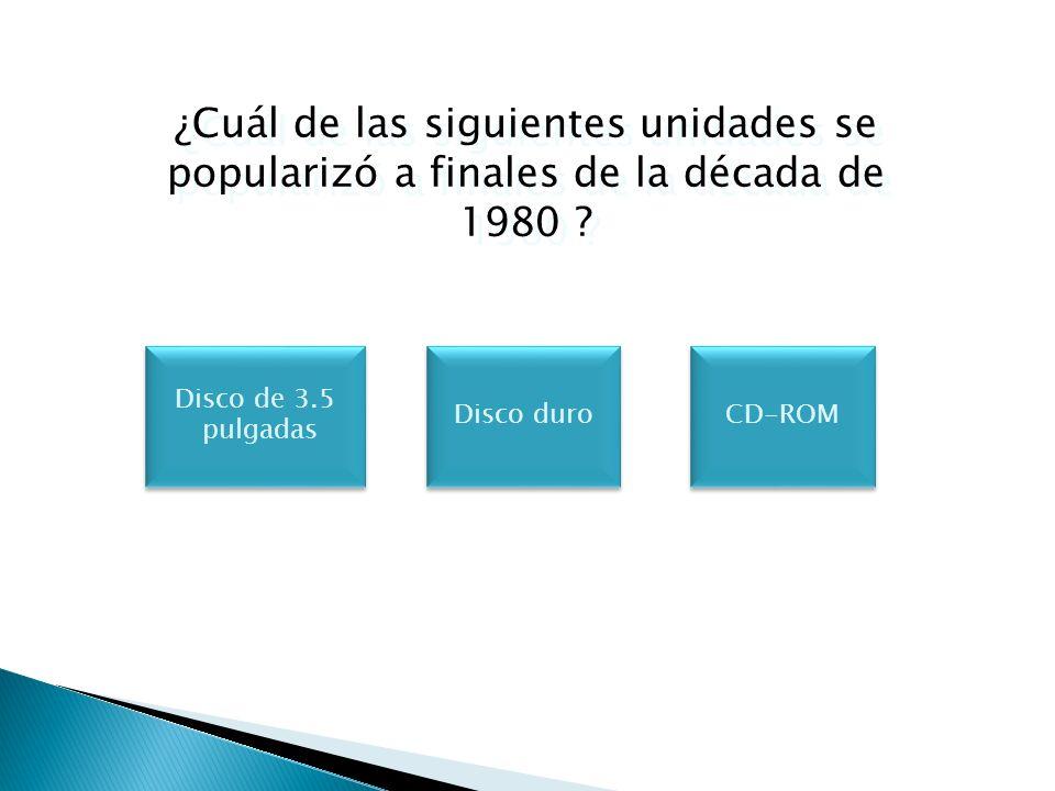 ¿Cuál de las siguientes unidades se popularizó a finales de la década de 1980