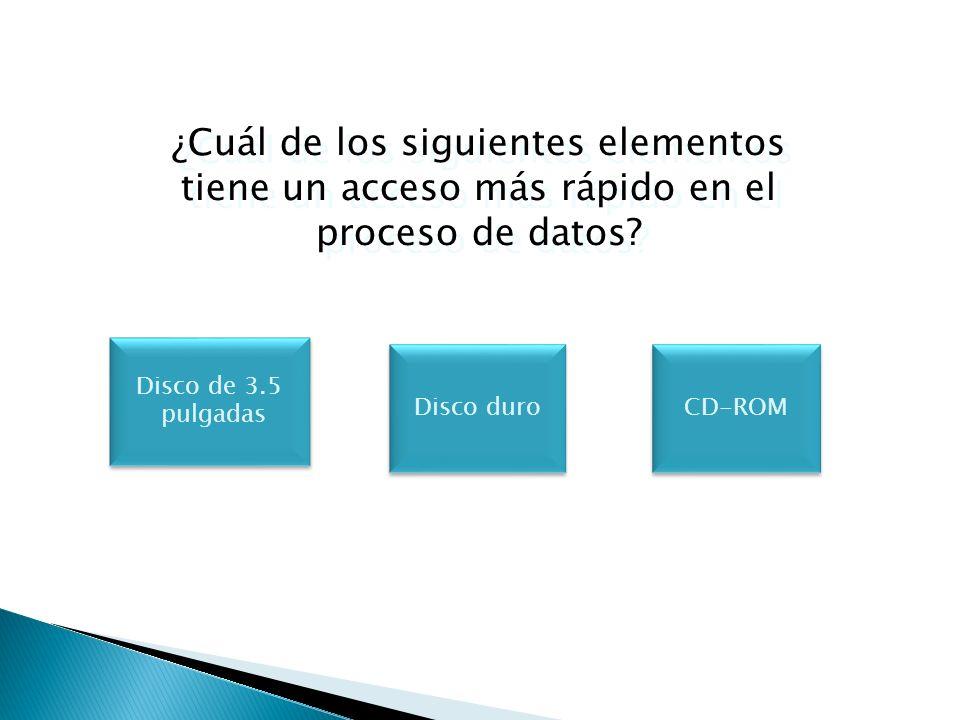 ¿Cuál de los siguientes elementos tiene un acceso más rápido en el proceso de datos