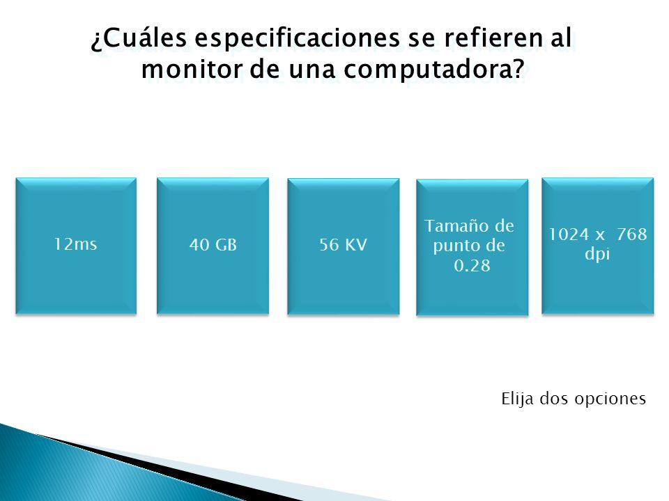 ¿Cuáles especificaciones se refieren al monitor de una computadora