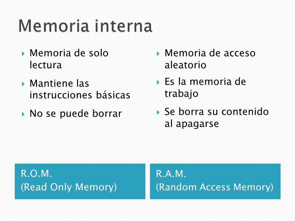 Memoria interna Memoria de solo lectura