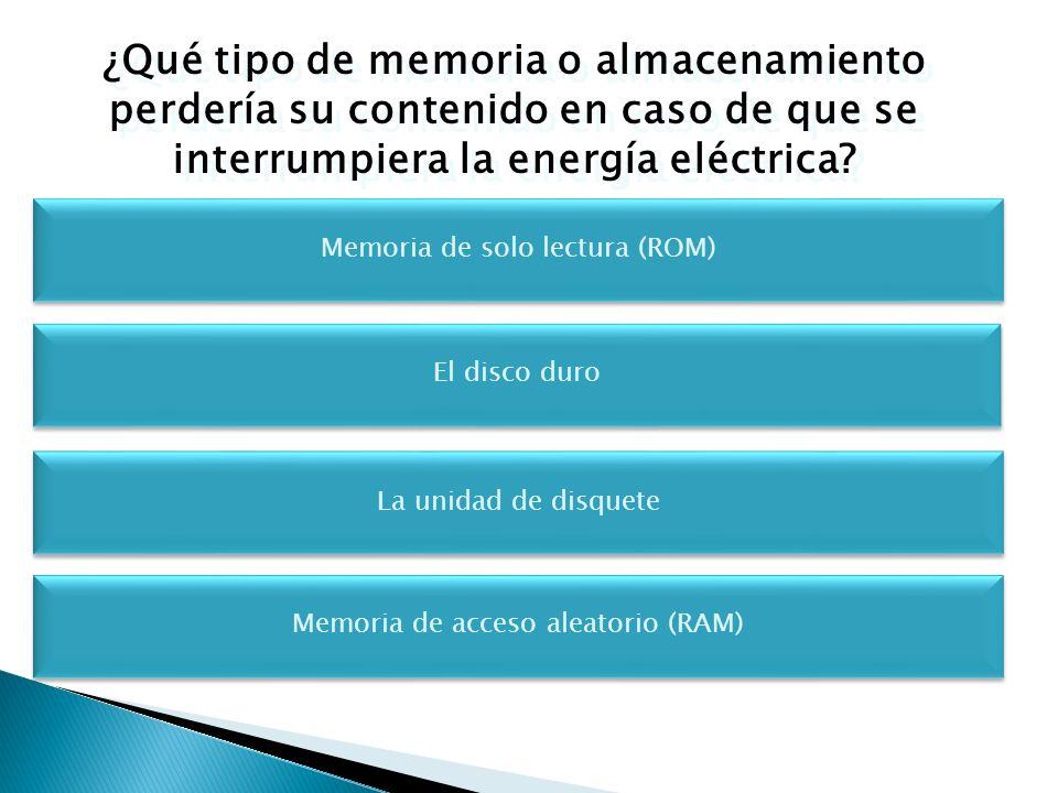 ¿Qué tipo de memoria o almacenamiento perdería su contenido en caso de que se interrumpiera la energía eléctrica