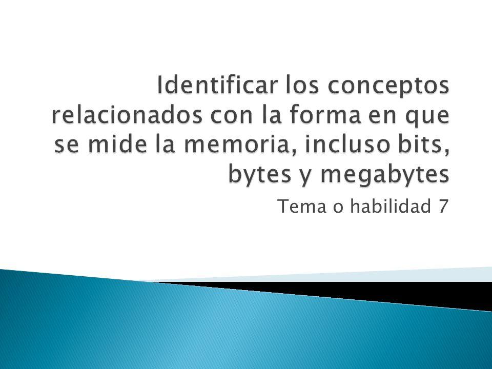 Identificar los conceptos relacionados con la forma en que se mide la memoria, incluso bits, bytes y megabytes