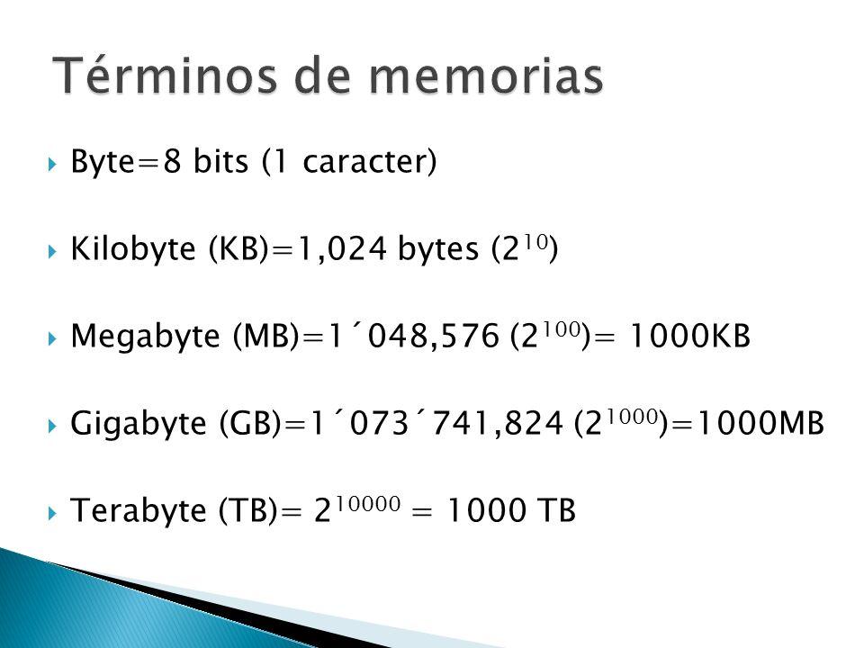 Términos de memorias Byte=8 bits (1 caracter)