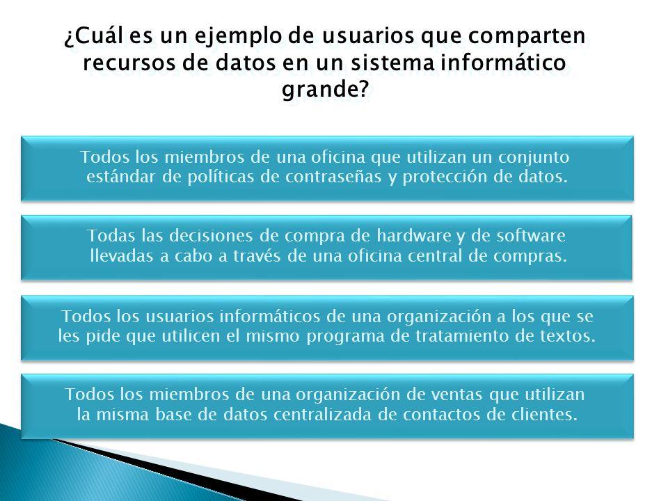 ¿Cuál es un ejemplo de usuarios que comparten recursos de datos en un sistema informático grande