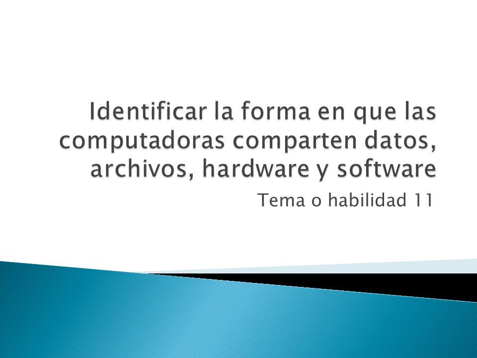 Identificar la forma en que las computadoras comparten datos, archivos, hardware y software