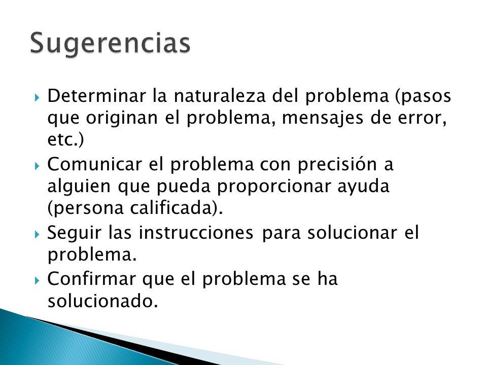 Sugerencias Determinar la naturaleza del problema (pasos que originan el problema, mensajes de error, etc.)
