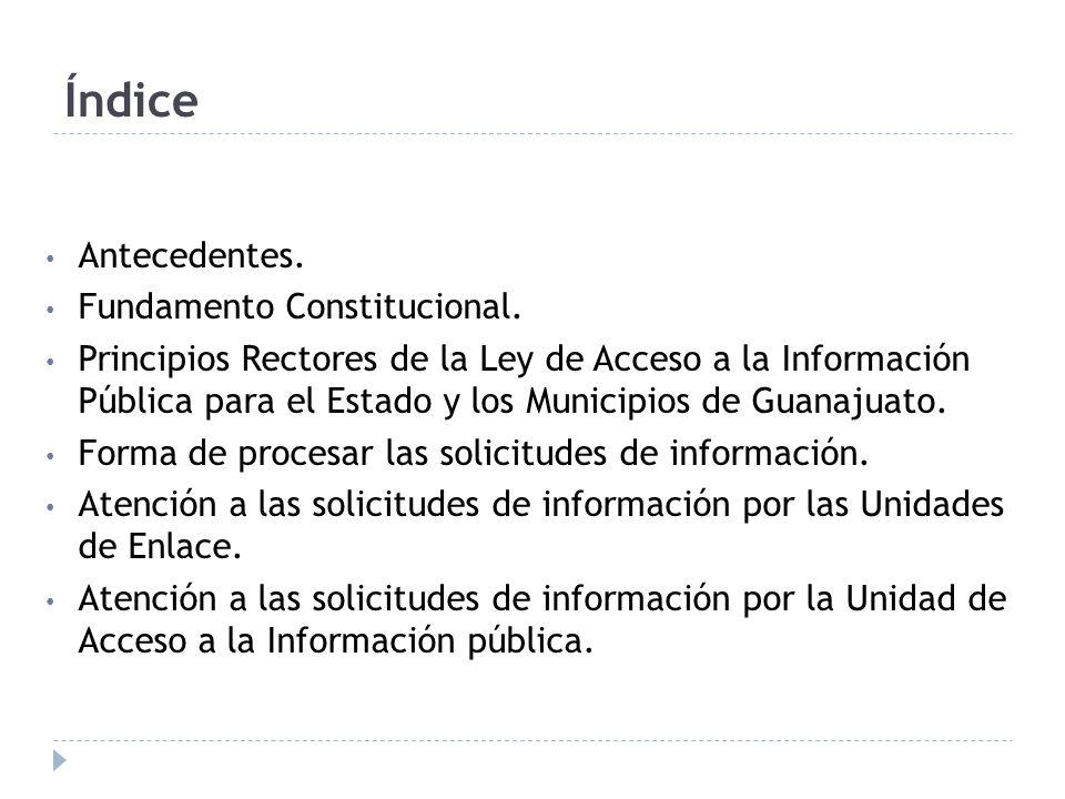 Índice Antecedentes. Fundamento Constitucional.