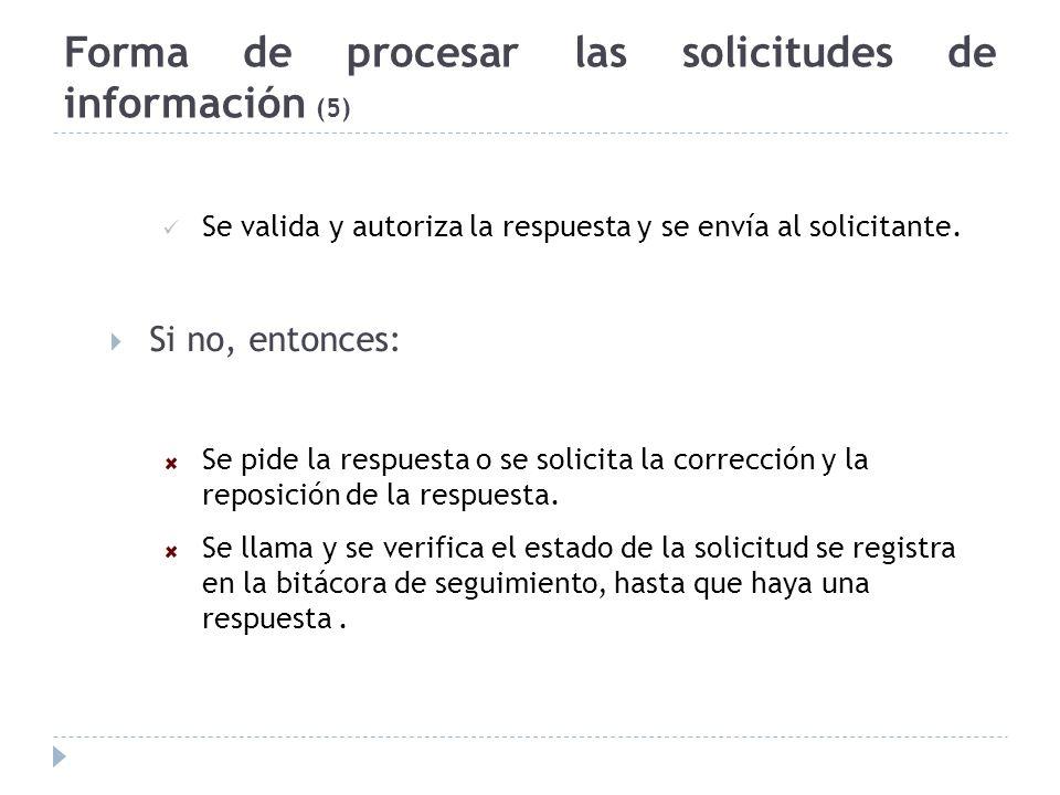 Forma de procesar las solicitudes de información (5)