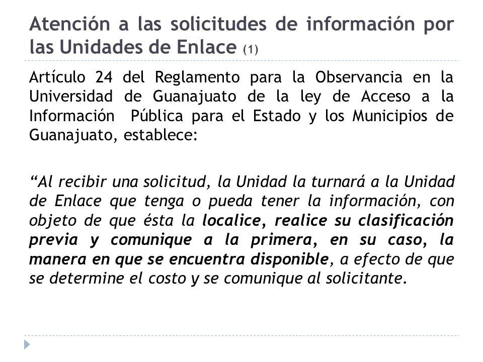 Atención a las solicitudes de información por las Unidades de Enlace (1)