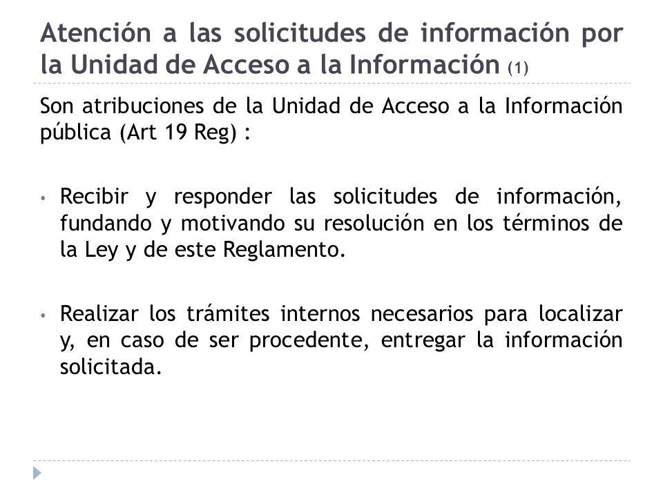 Atención a las solicitudes de información por la Unidad de Acceso a la Información (1)