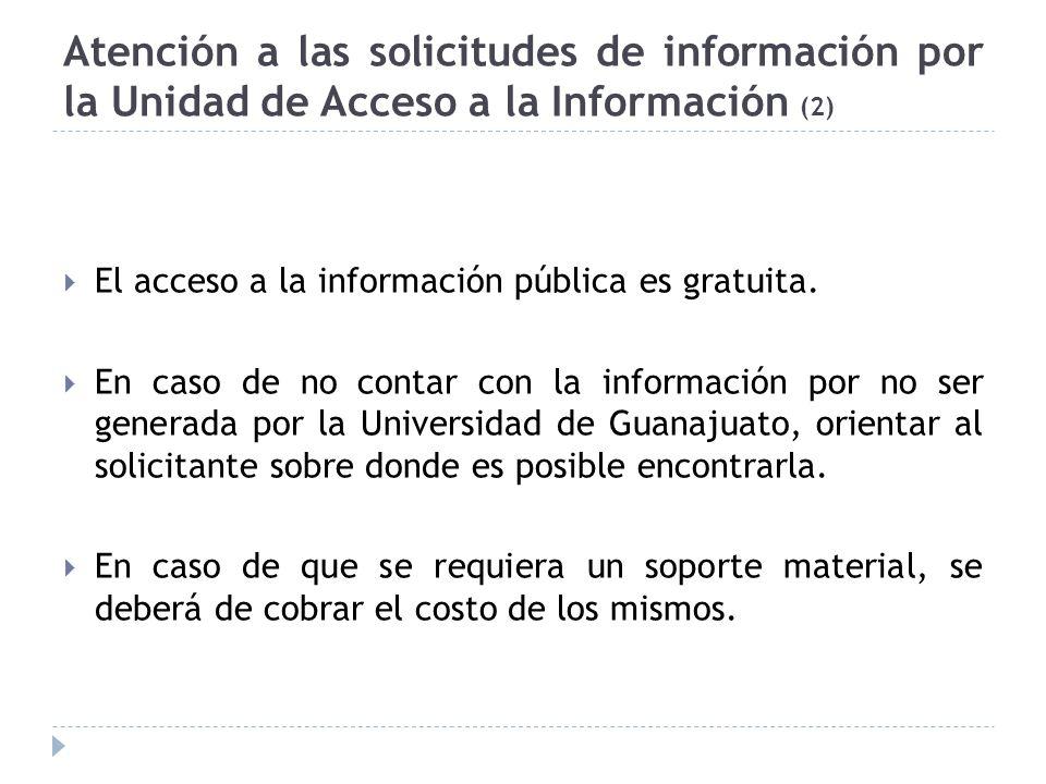 Atención a las solicitudes de información por la Unidad de Acceso a la Información (2)