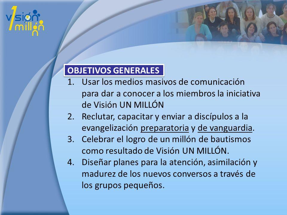 OBJETIVOS GENERALES Usar los medios masivos de comunicación para dar a conocer a los miembros la iniciativa de Visión UN MILLÓN.