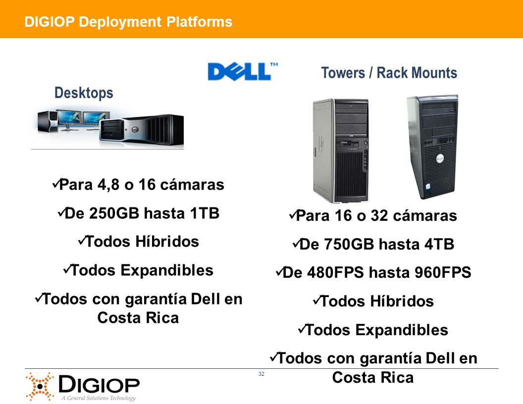 Todos con garantía Dell en Costa Rica Para 16 o 32 cámaras