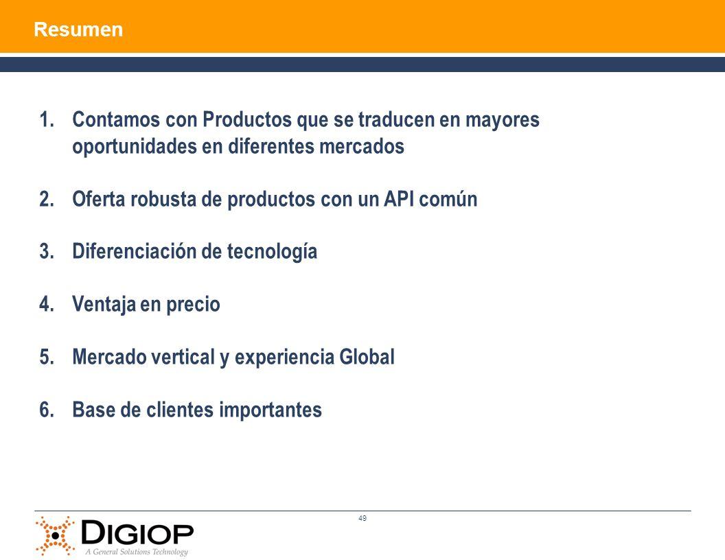 Oferta robusta de productos con un API común
