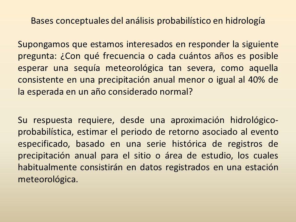 Bases conceptuales del análisis probabilístico en hidrología