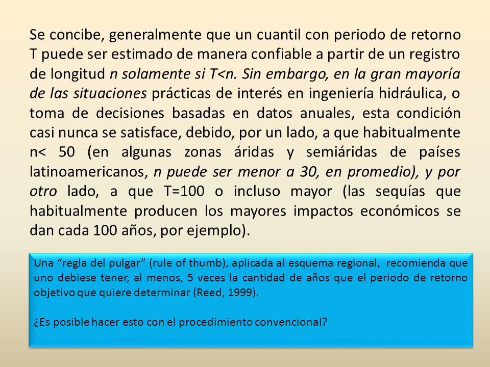 Se concibe, generalmente que un cuantil con periodo de retorno T puede ser estimado de manera confiable a partir de un registro de longitud n solamente si T<n. Sin embargo, en la gran mayoría de las situaciones prácticas de interés en ingeniería hidráulica, o toma de decisiones basadas en datos anuales, esta condición casi nunca se satisface, debido, por un lado, a que habitualmente n< 50 (en algunas zonas áridas y semiáridas de países latinoamericanos, n puede ser menor a 30, en promedio), y por otro lado, a que T=100 o incluso mayor (las sequías que habitualmente producen los mayores impactos económicos se dan cada 100 años, por ejemplo).
