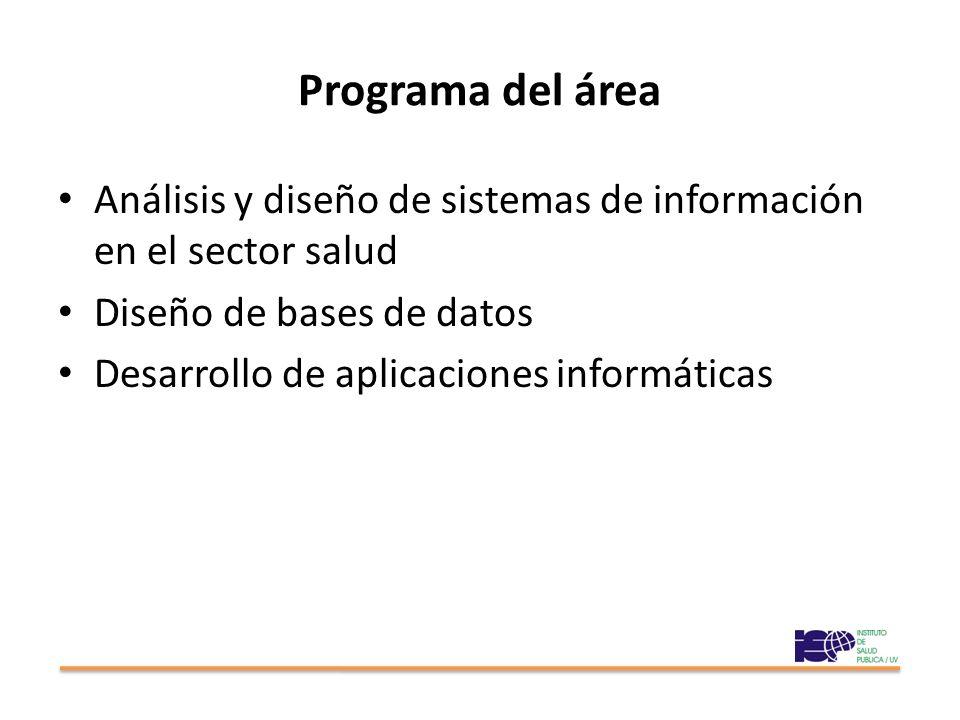 Programa del área Análisis y diseño de sistemas de información en el sector salud. Diseño de bases de datos.