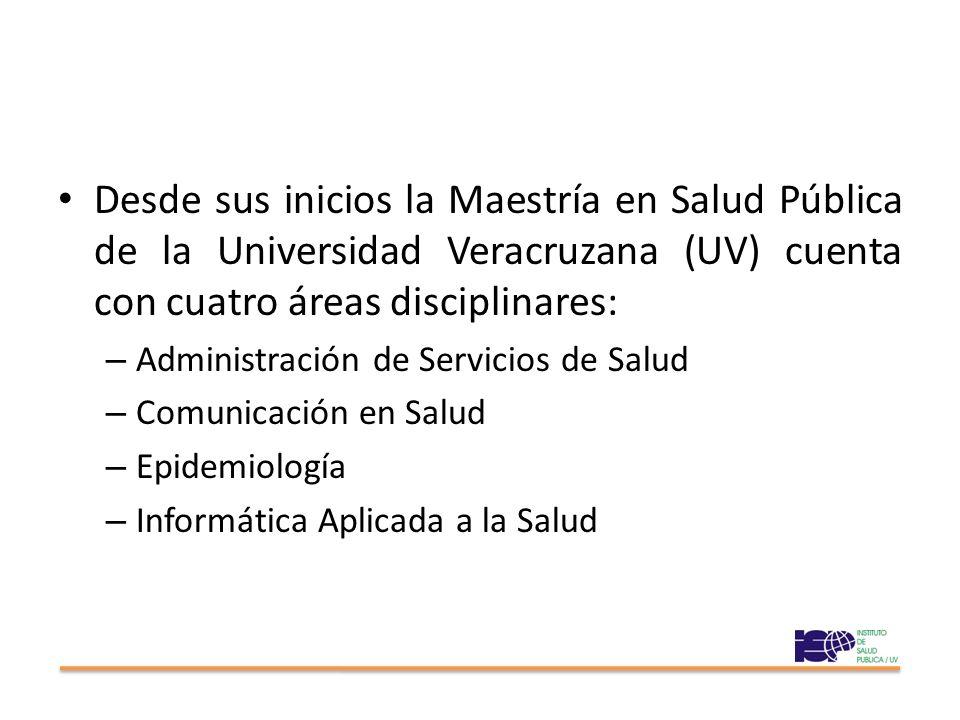 Desde sus inicios la Maestría en Salud Pública de la Universidad Veracruzana (UV) cuenta con cuatro áreas disciplinares: