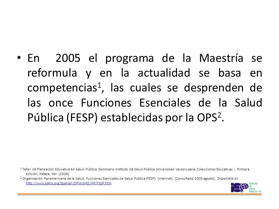 En 2005 el programa de la Maestría se reformula y en la actualidad se basa en competencias1, las cuales se desprenden de las once Funciones Esenciales de la Salud Pública (FESP) establecidas por la OPS2.