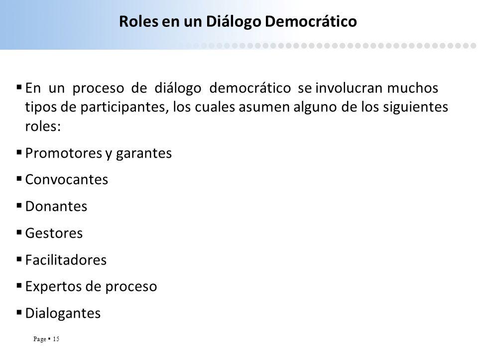 Roles en un Diálogo Democrático