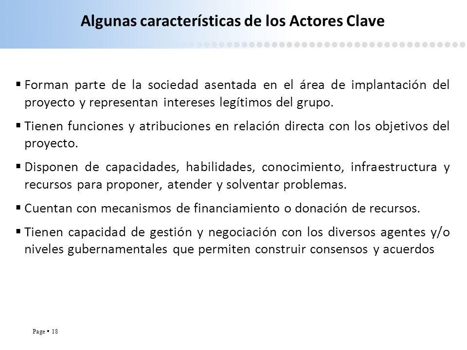 Algunas características de los Actores Clave