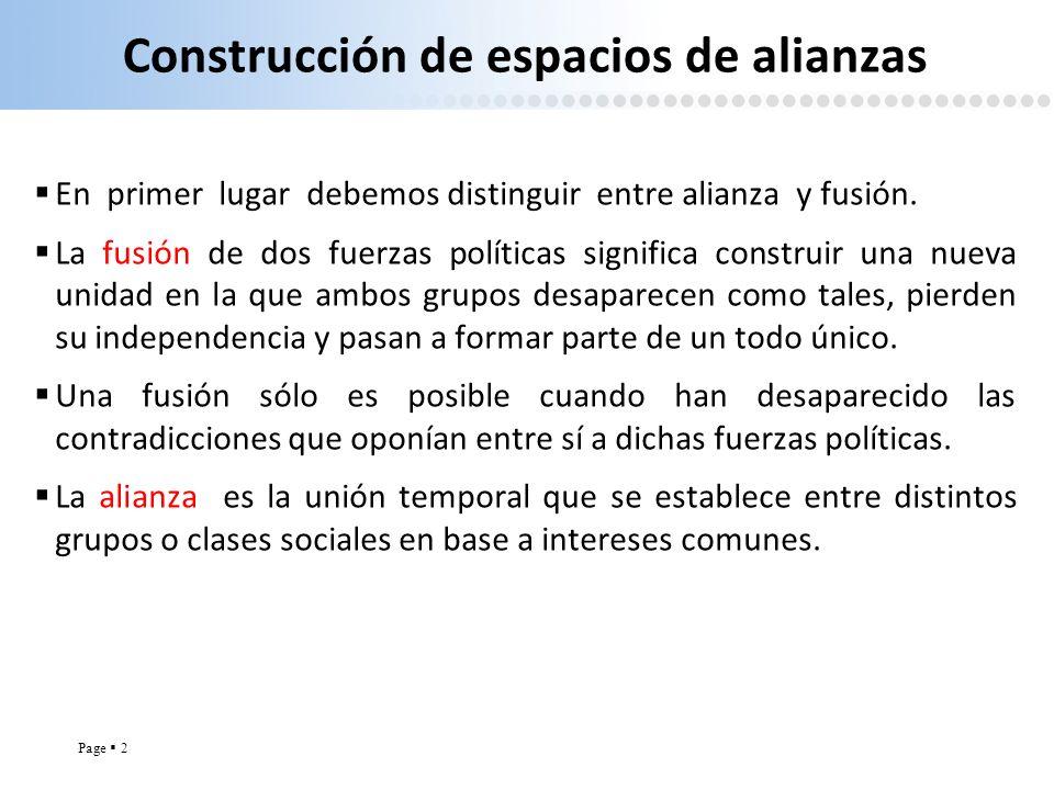 Construcción de espacios de alianzas